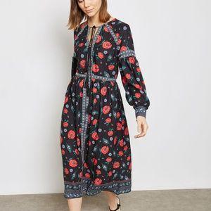 Endless Rose floral boho midi peasant dress black